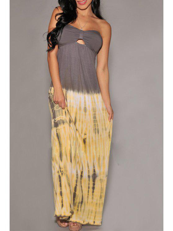 outfit Color Block Strapless Cut Out Maxi Dress - AS THE PICTURE S