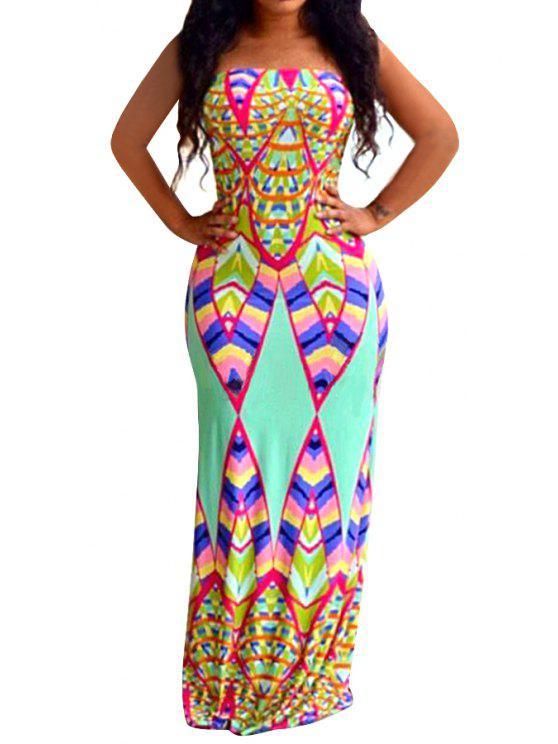 fancy Colored Print Strapless Maxi Dress - COLORMIX S