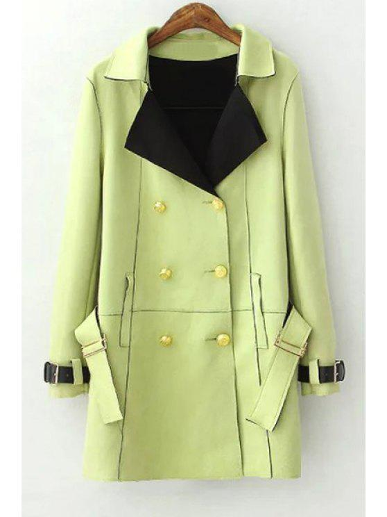 fancy Lapel Double-Breasted Trench Coat - GREEN S