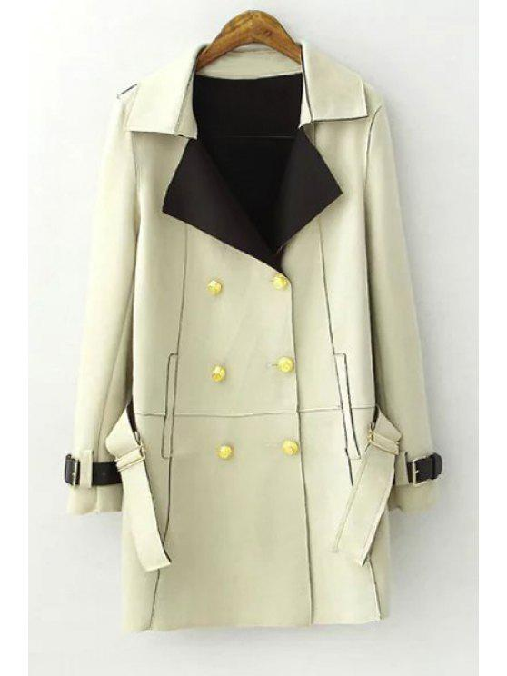 women Lapel Double-Breasted Trench Coat - LIGHT GREEN L