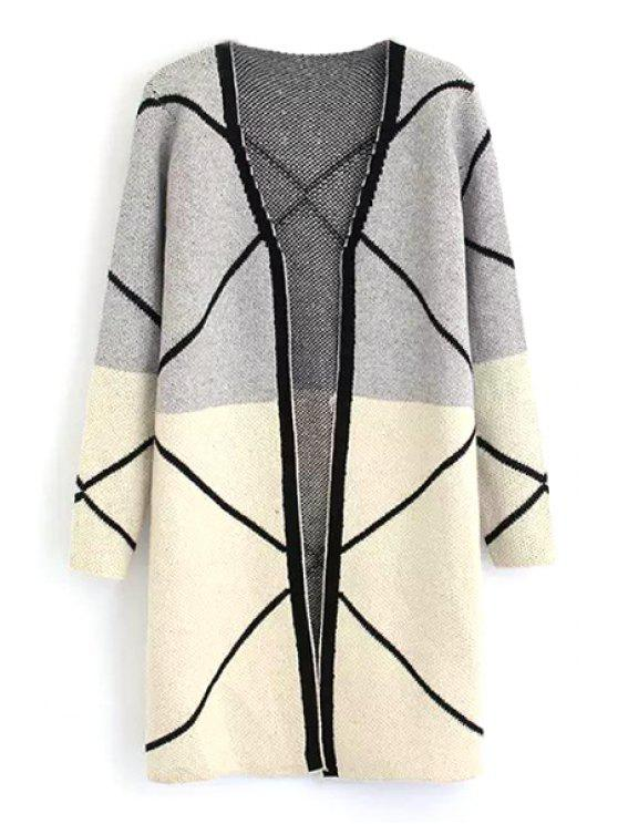 outfits Color Block Black Stripes Cardigan - GRAY ONE SIZE(FIT SIZE XS TO M)