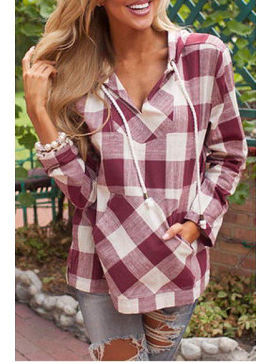 women Plaid Print Hooded Long Sleeve Blouse - RED WITH WHITE S