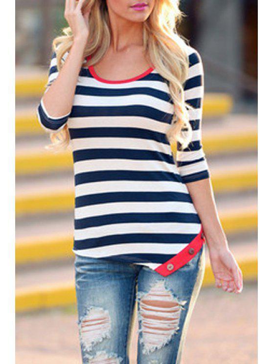 ladies Stripe 3/4 Sleeve Side Slit T-Shirt - WHITE S