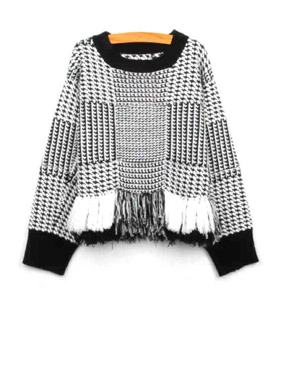 shops Fringed Houndstooth Sweater - WHITE AND BLACK ONE SIZE(FIT SIZE XS TO M)