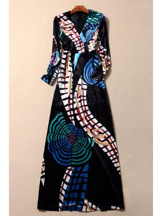 women's Velvet Geometric Print Long Sleeves Plunging Neck Maxi Dress - COLORMIX S