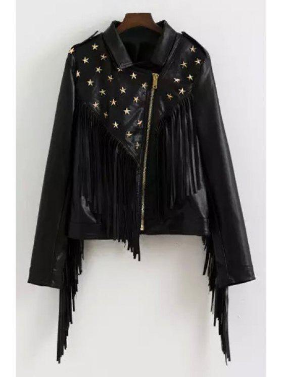 chic Star Rivet PU Leather Turn Down Collar Coat - BLACK S