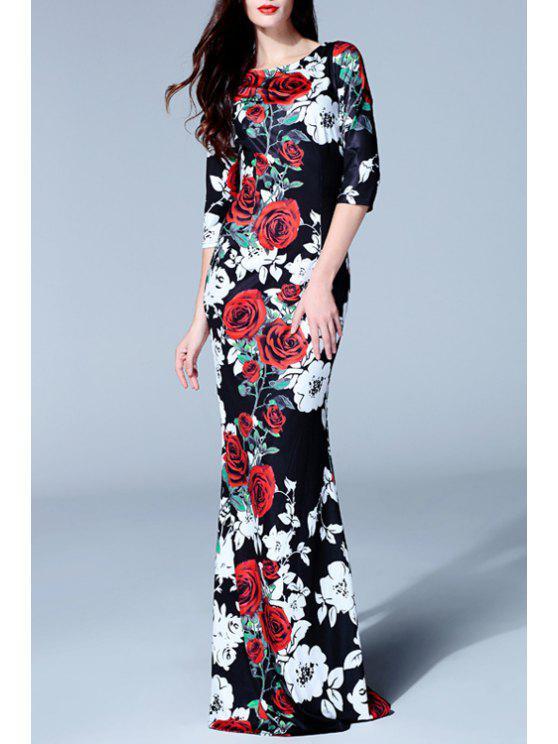 sale 3/4 Sleeve Rose Print Fishtail Dress - BLACK S