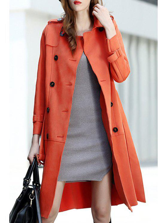new Suede Flat Collar Double-Breasted Button Epaulet Coat - JACINTH S