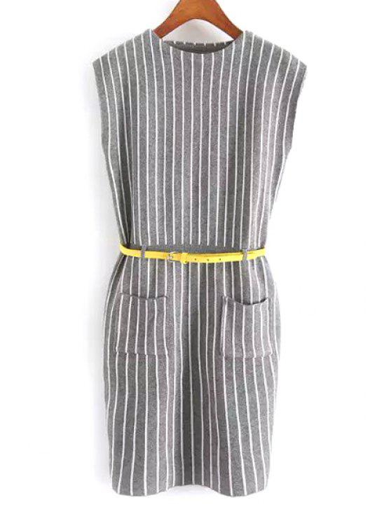 outfits Striped Round Neck Sleeveless Sweater Dress - GRAY S