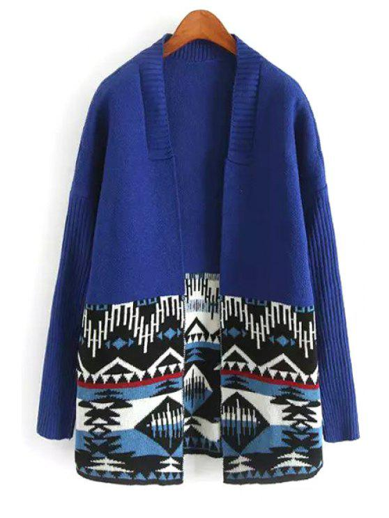 shop Ethnic Pattern Long Sleeve Cardigan - BLUE ONE SIZE(FIT SIZE XS TO M)