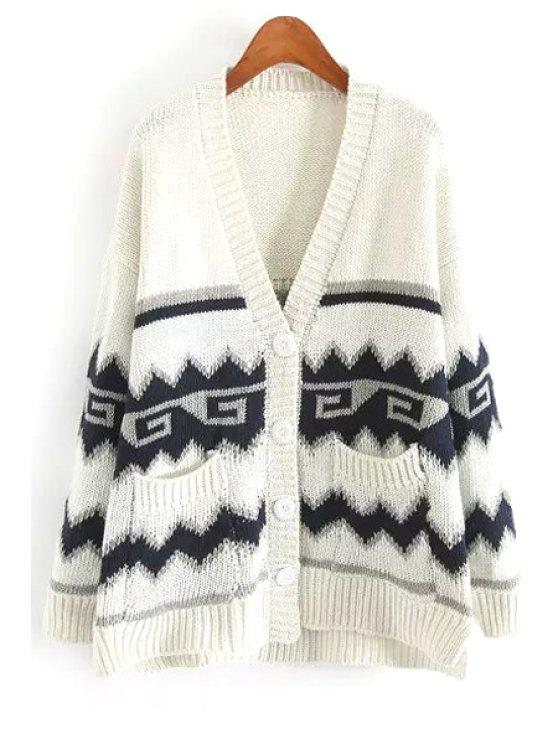 trendy Geometric Long Sleeve Cardigan - WHITE ONE SIZE(FIT SIZE XS TO M)