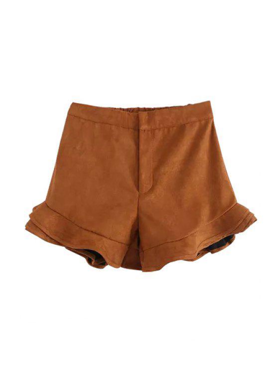 outfit Ruffles Spliced High Waist Pantskirt - KHAKI S