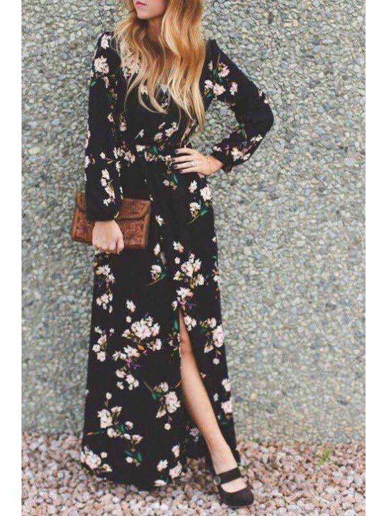 shops Floral Print High Slit Prom Dress - BLACK S