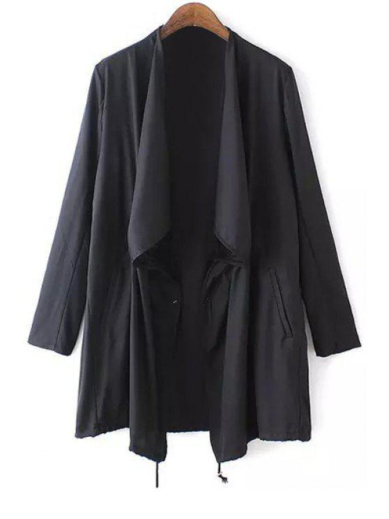 sale Black Turn Down Collar Long Sleeve Trench Coat - BLACK S