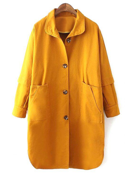 lady Yellow Turn Down Collar Long Sleeve Trench Coat - YELLOW S