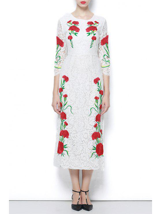 fashion 3/4 Sleeve Embroidered Lace Dress - WHITE M