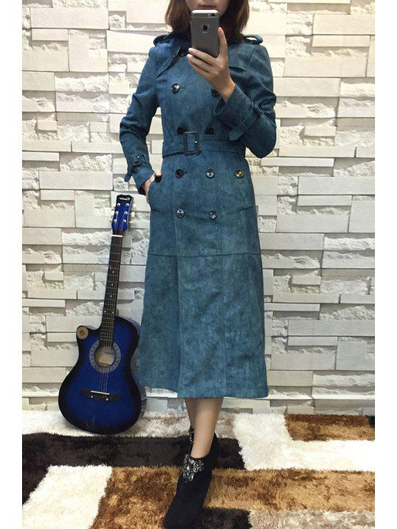 fashion Suede Slimming Flat Collar Double-Breasted Epaulet Coat - DEEP BLUE S