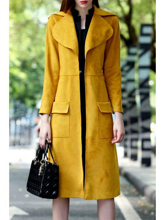 sale Suede Long Sleeves Turn-Down Collar Solid Color Coat - YELLOW S