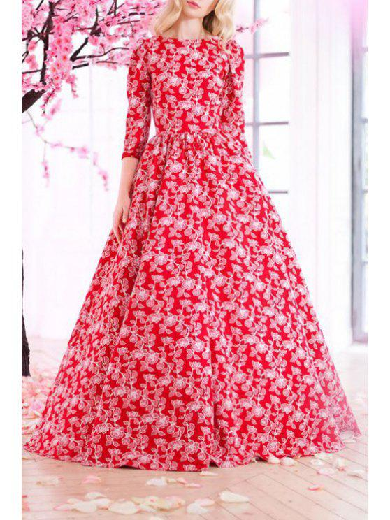 womens 3/4 Sleeve Tiny Floral Print Prom Dress - RED S