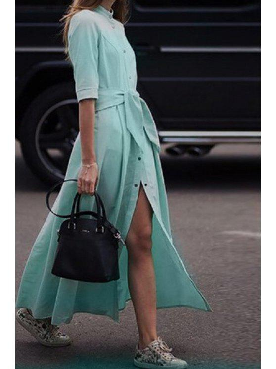 online Pure Color Stand Neck Half Sleeve Maxi Dress - TURQUOISE S
