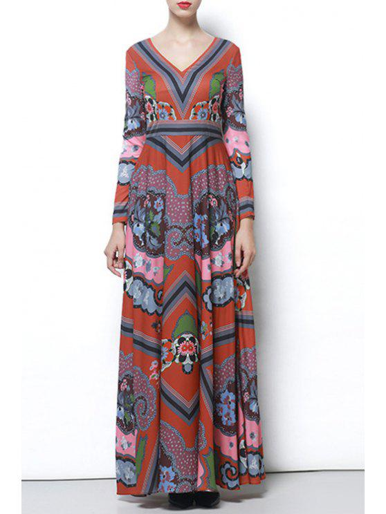 shops Abstract Print Evening Dress - COLORMIX S