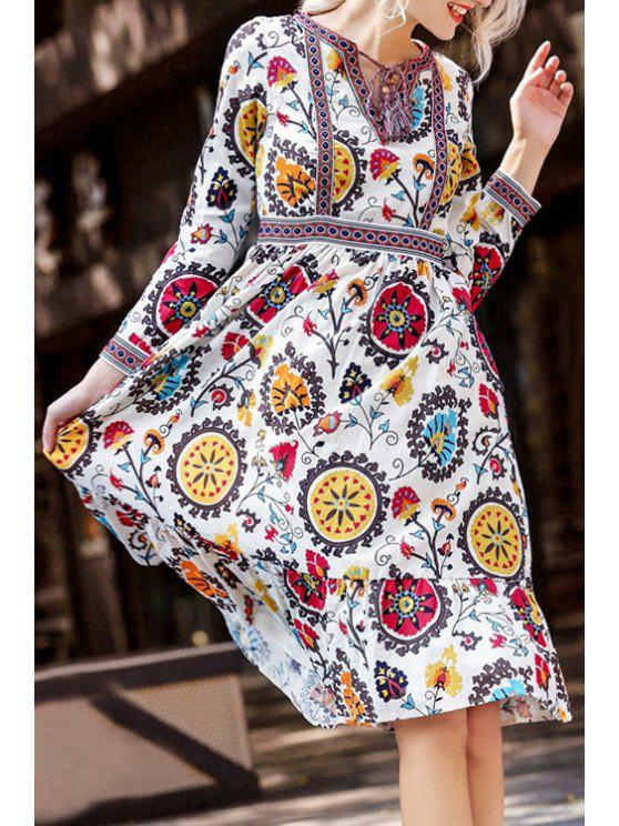 women's Retro Embroidery Print V-Neck Long Sleeves Tie Dress - COLORMIX S