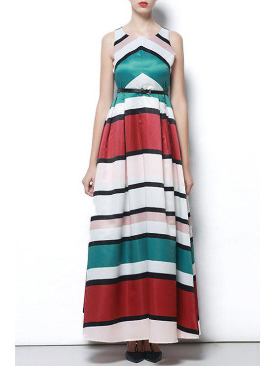 chic Color Block Striped Prom Dress - COLORMIX S
