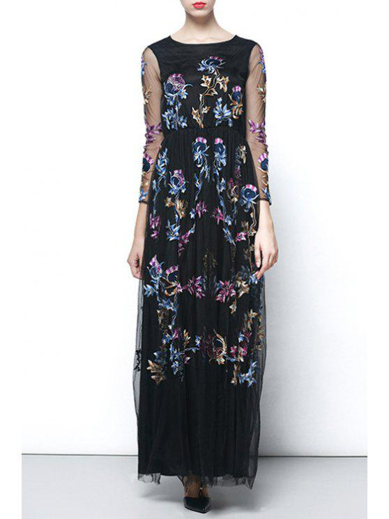 affordable Embroidered Voile Maxi Prom Dress - BLACK S