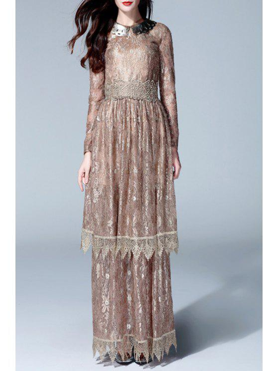 shops Embroidered Double-Layered Prom Dress - GOLDEN S