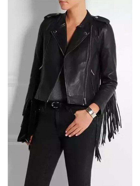 shop Epaulet Tassels PU Leather Jacket - BLACK S