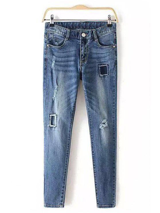 fancy Broken Hole Pencil Jeans - BLUE XS