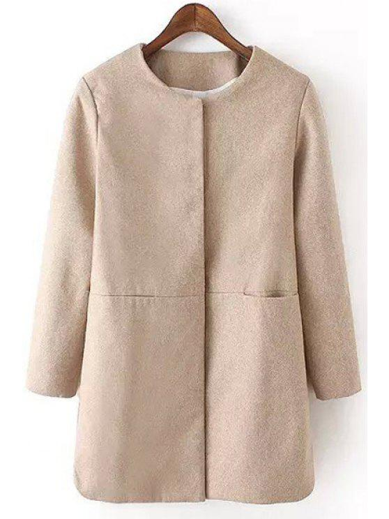 lady Two Pockets Solid Color Wool Coat - KHAKI S