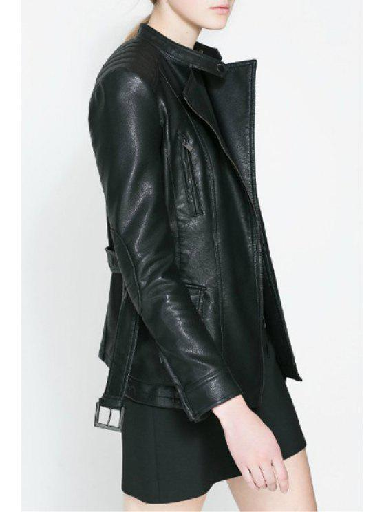 trendy Two Pockets PU Leather Jacket With Belt - BLACK S