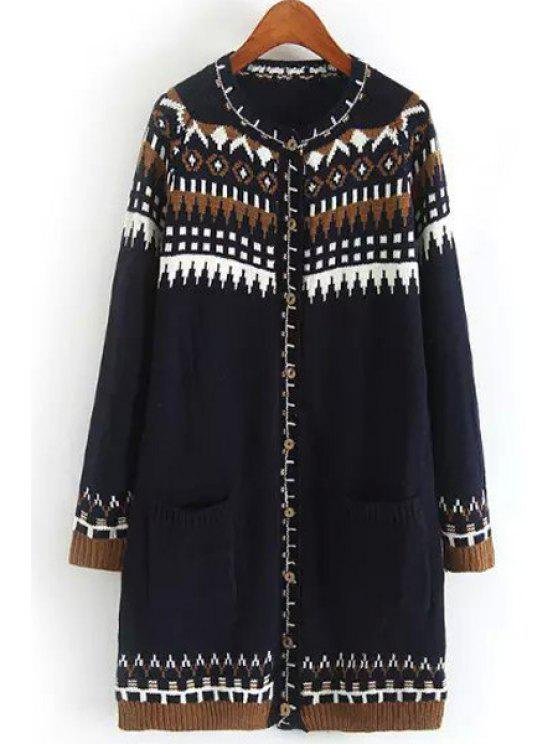 outfit Long Sleeve Jacquard Long Cardigan - PURPLISH BLUE ONE SIZE(FIT SIZE XS TO M)
