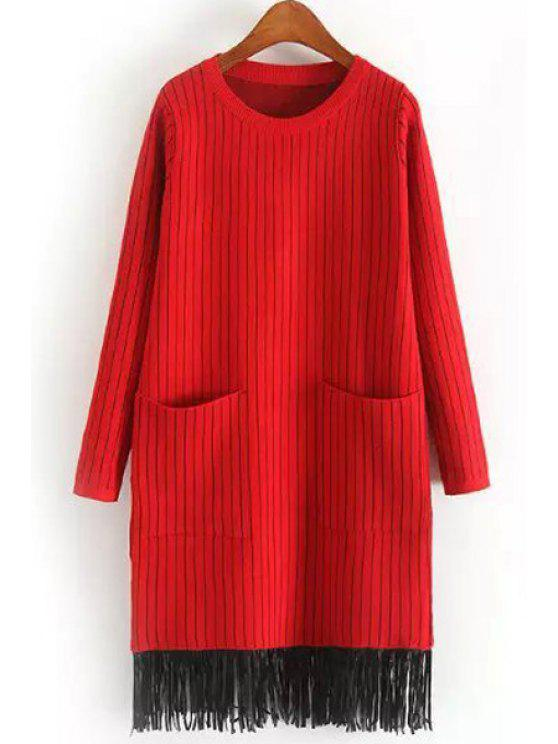 shop Two Pockets Tassels Sweater Dress - RED ONE SIZE(FIT SIZE XS TO M)