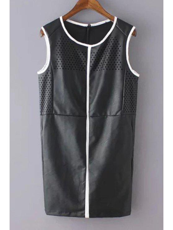 shop PU Leather Hollow Scoop Neck Sundress - BLACK S