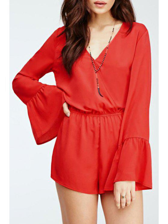 lady Pure Color Plunging Neck Long Puff Sleeves Romper - RED XS