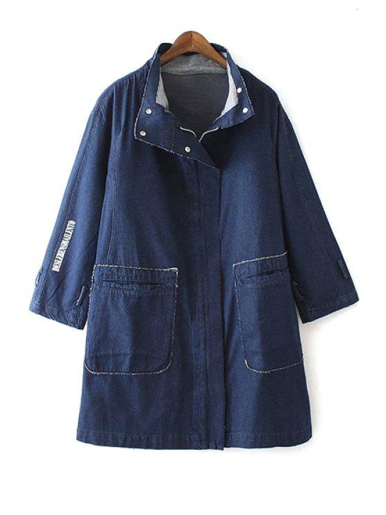 outfit Letter Print Turn Down Collar Denim Coat - DEEP BLUE S