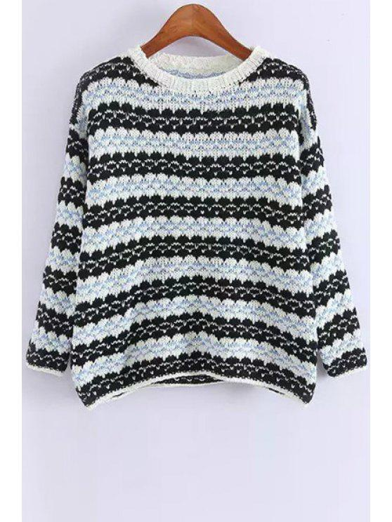 shops Round Neck Striped Jumper - BLUE ONE SIZE(FIT SIZE XS TO M)