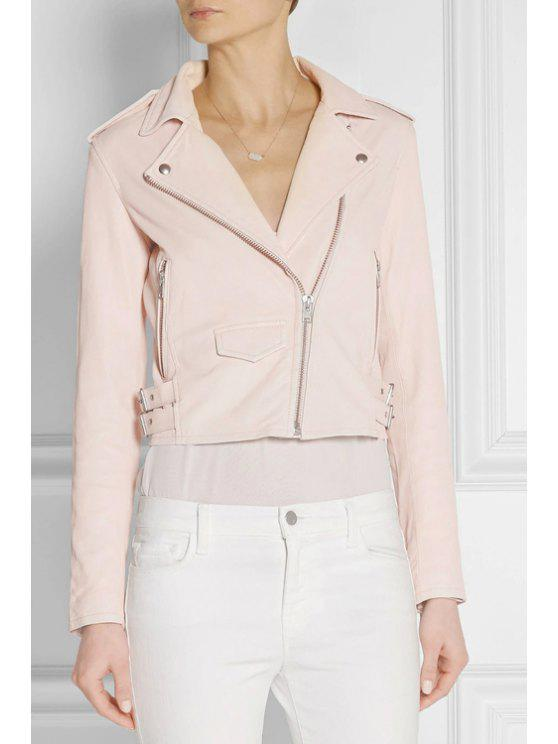 fashion Pink PU Leather Lapel Long Sleeve Jacket - PINK S