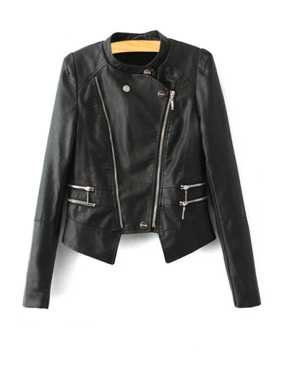 best Stand Neck Faux Leather Zipper Jacket - BLACK S