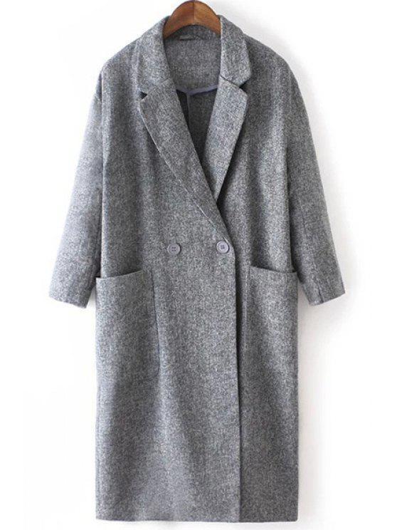 shop Lapel Big Pockets Trench Coat - GRAY S