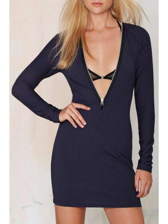 shops Plunging Neck Long Sleeves Zipper Solid Color Dress - NAVY BLUE XS