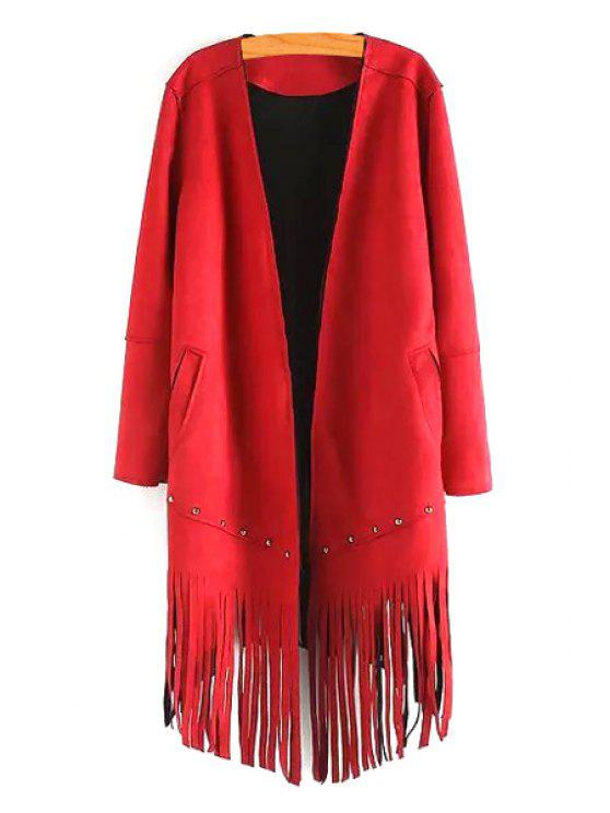 fancy Long Sleeve Tassels Solid Color Coat - RED M