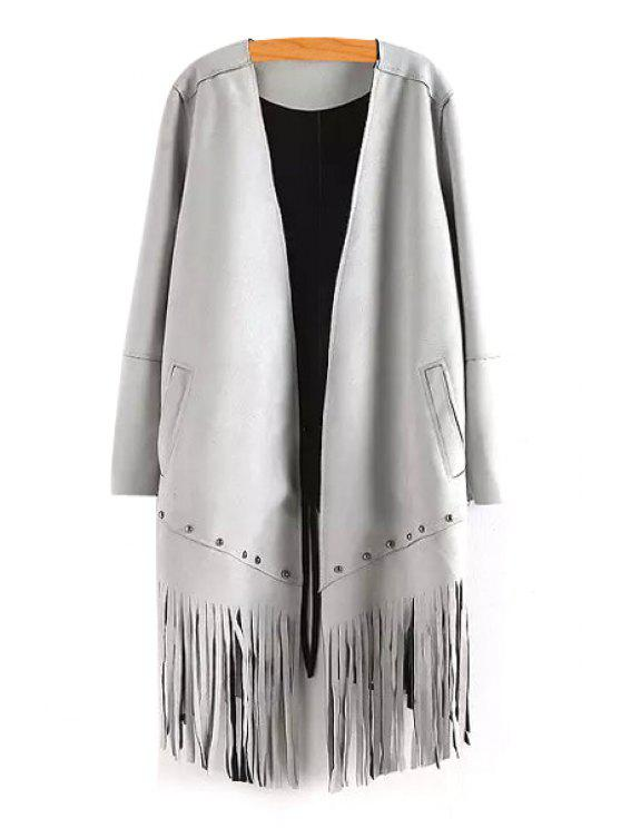 affordable Long Sleeve Tassels Solid Color Coat - GRAY M