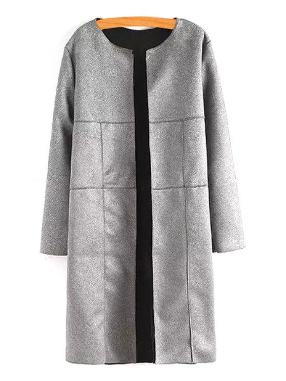 unique Faux Leather Jewel Neck Long Sleeve Coat - GRAY S
