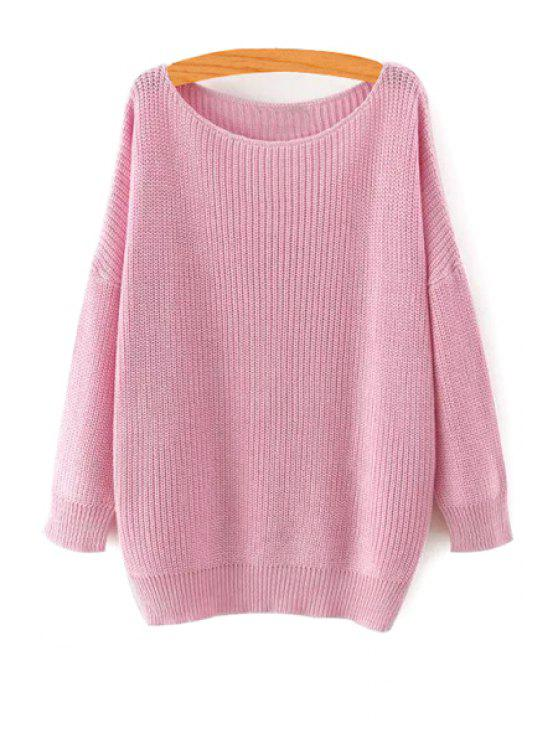 online Pure Color Long Sleeve Pullover Sweater - PINK M