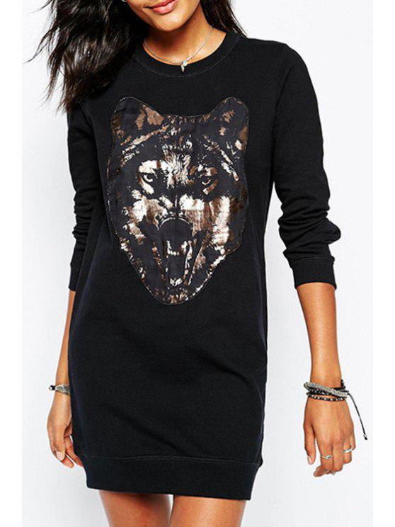 shops Wolf Print Round Collar Long Sleeves Sweatshirt - BLACK XS