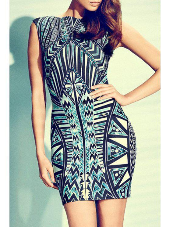shop Tribal Print Sleeveless Bodycon Dress - BLUE AND GREEN XS