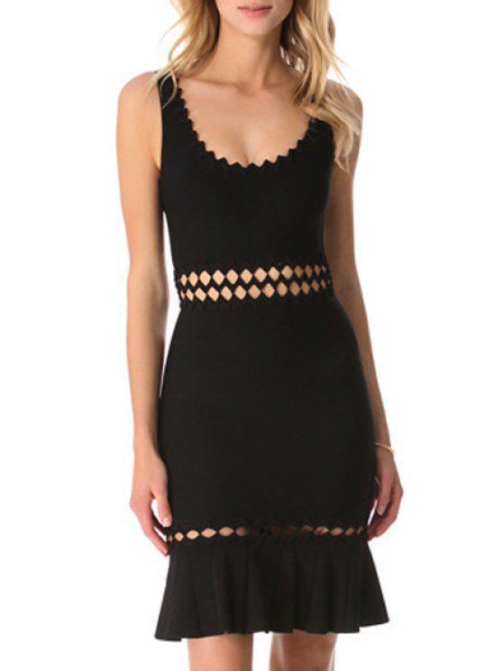 women's Hollow Scoop Neck Sleeveless Bodycon Dress - BLACK XS